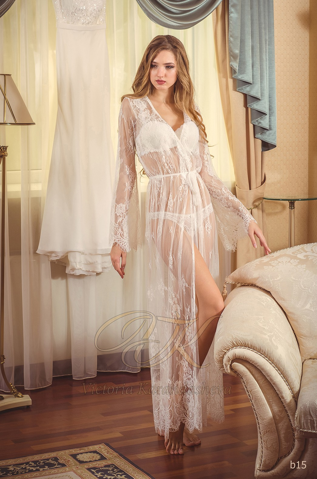 Кружевное будуарное платье